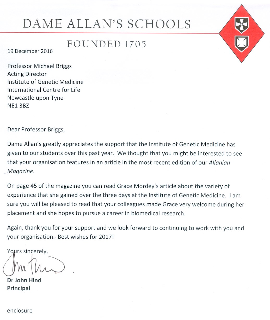 Lovely letter of appreciation from the principle of dame allens lovely letter of appreciation from the principle of dame allens school spiritdancerdesigns Images
